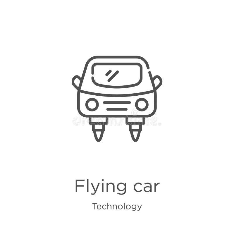 latający samochodowy ikona wektor od technologii kolekcji Cienka kreskowa latająca samochodowa kontur ikony wektoru ilustracja Ko ilustracja wektor