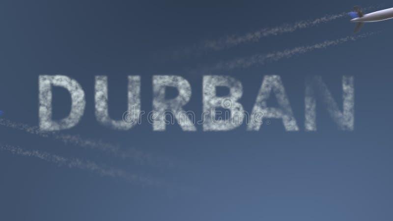 Latający samolotów ślada i Durban podpis Podróżować Południowa Afryka konceptualny 3D rendering royalty ilustracja
