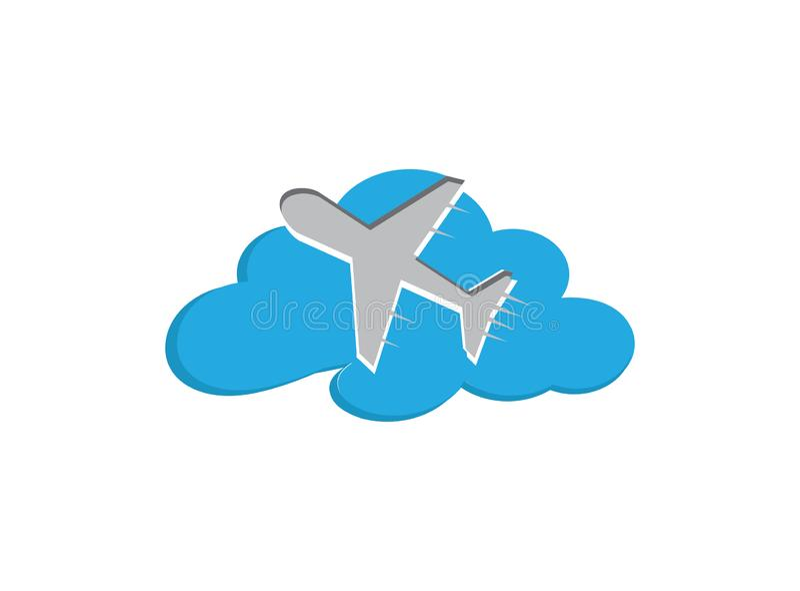 Latający samolot w niebie przez chmury dla logo projekta ilustracji, wycieczki ikona, podróż symbol royalty ilustracja