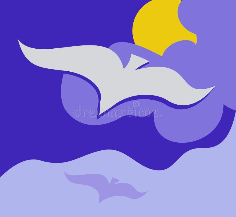Latający seagull royalty ilustracja