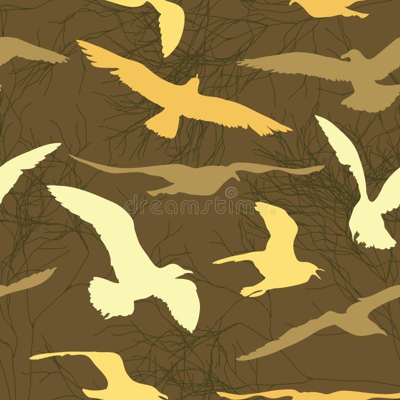 Latający seagull na abstrakcjonistycznym tle royalty ilustracja