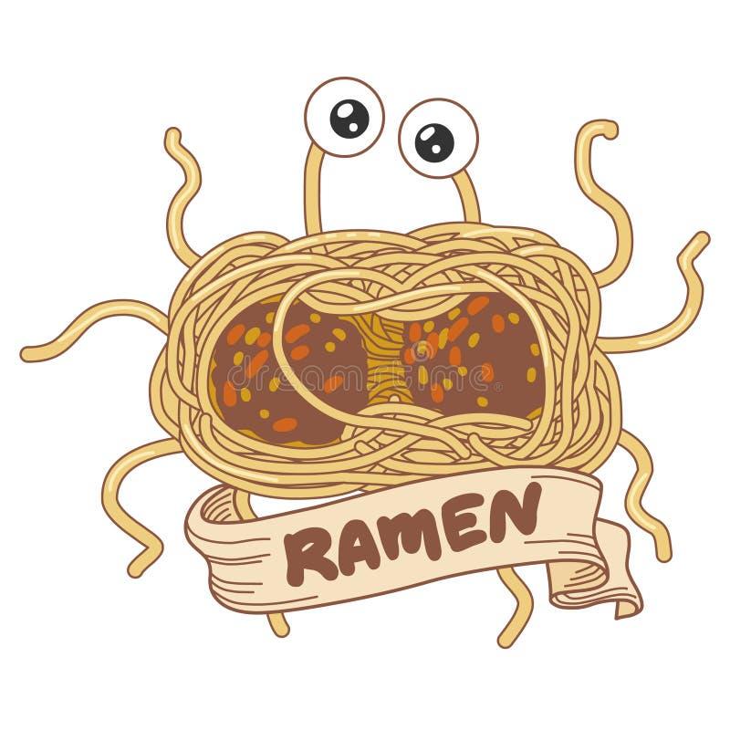 Latający spaghetty potwór Wektorowa ręka rysująca ilustracja royalty ilustracja