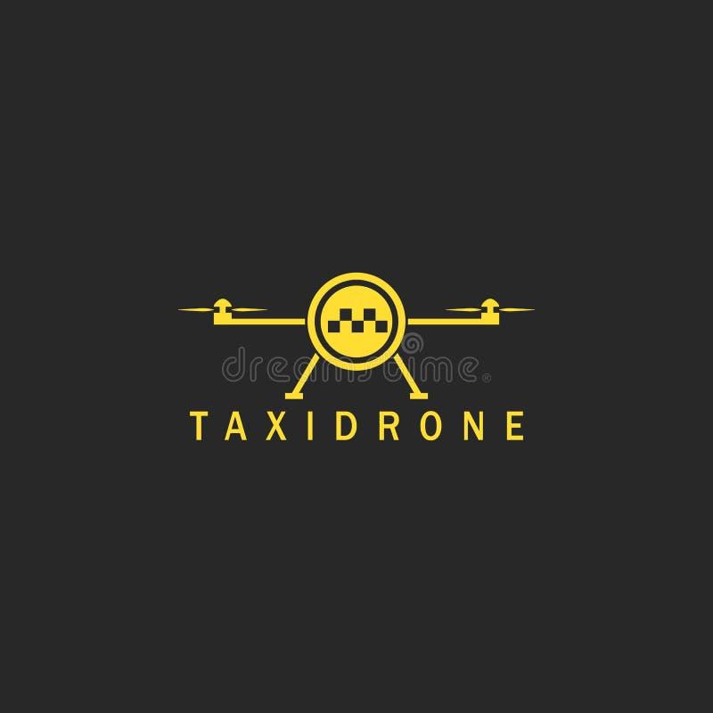 Latający taxi robić logo mockup, minimalnego stylowego innowacji powietrza miasta transportu technologii quadrocopter pojęcia żół ilustracja wektor