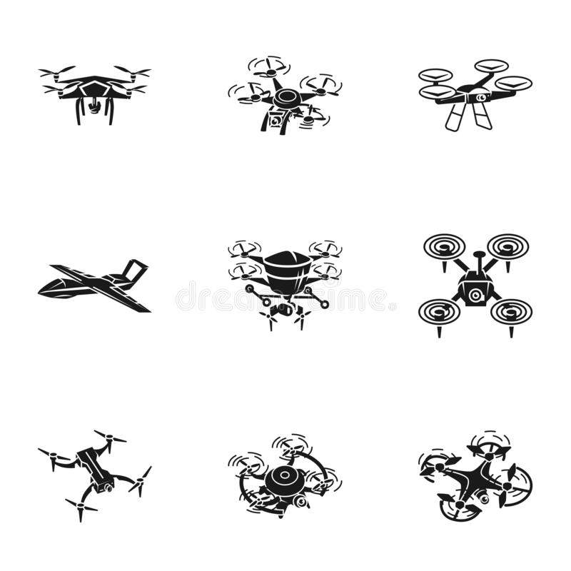 Latający truteń ikony set, prosty styl ilustracji
