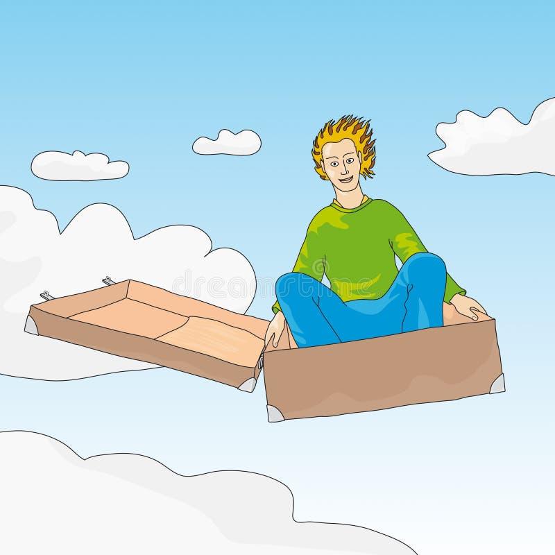latający walizka wektora ilustracji