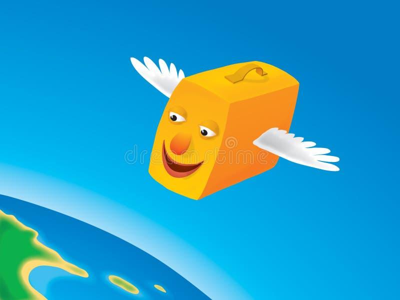 latający walizka wektora ilustracja wektor