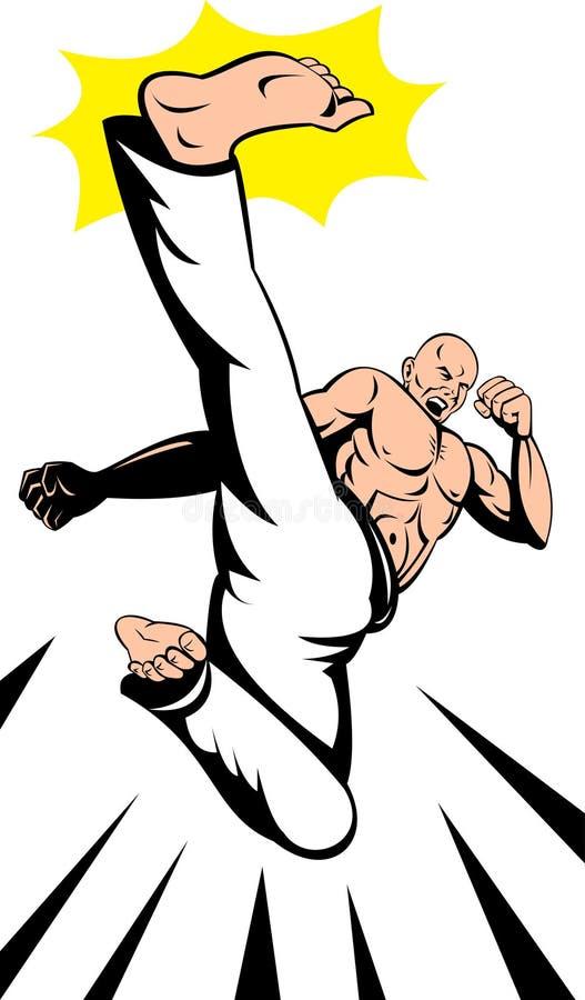 latający wysoki karate kopnięcia mężczyzna royalty ilustracja
