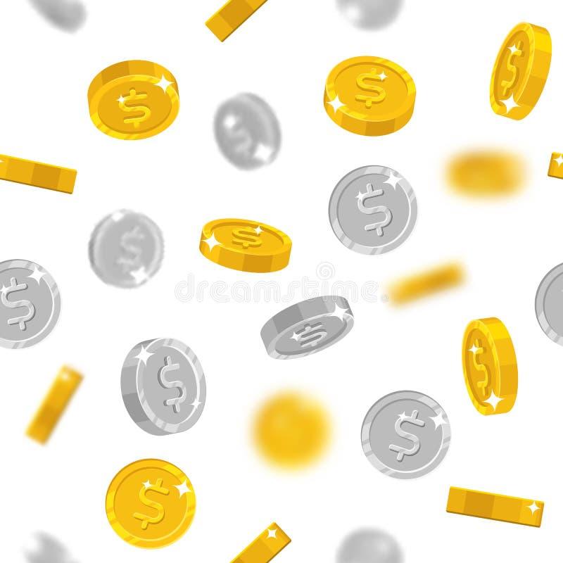 Latający złoto i srebni dolary moneta ilustracja wektor