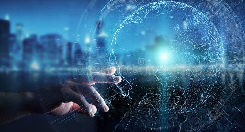 Latający ziemski sieć interfejs aktywujący biznesmena 3D rende ilustracja wektor
