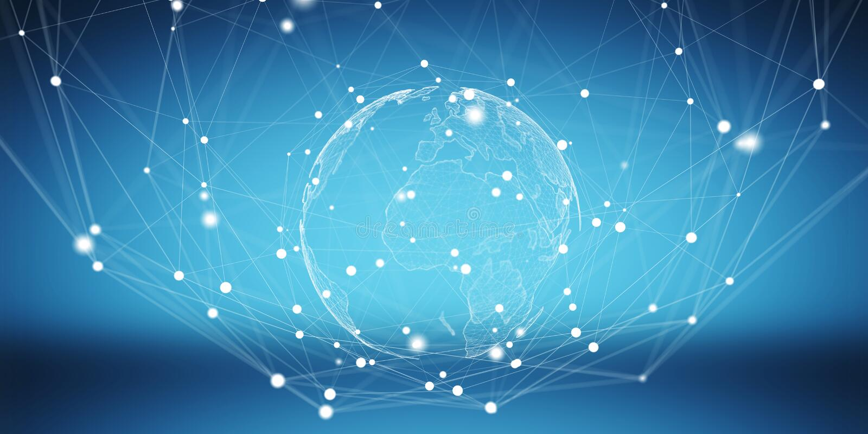 Latający ziemski sieć interfejsu 3D rendering royalty ilustracja