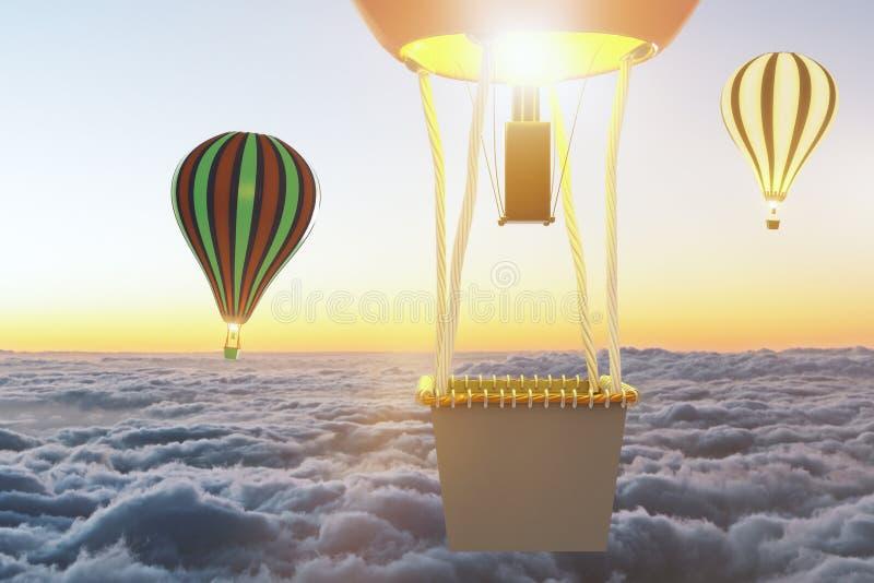 Latających baloons above chmury przy zmierzchem royalty ilustracja