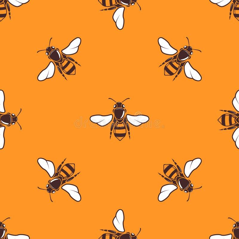 Latających pszczół wektorowy bezszwowy wzór w jaskrawej pomarańcze royalty ilustracja
