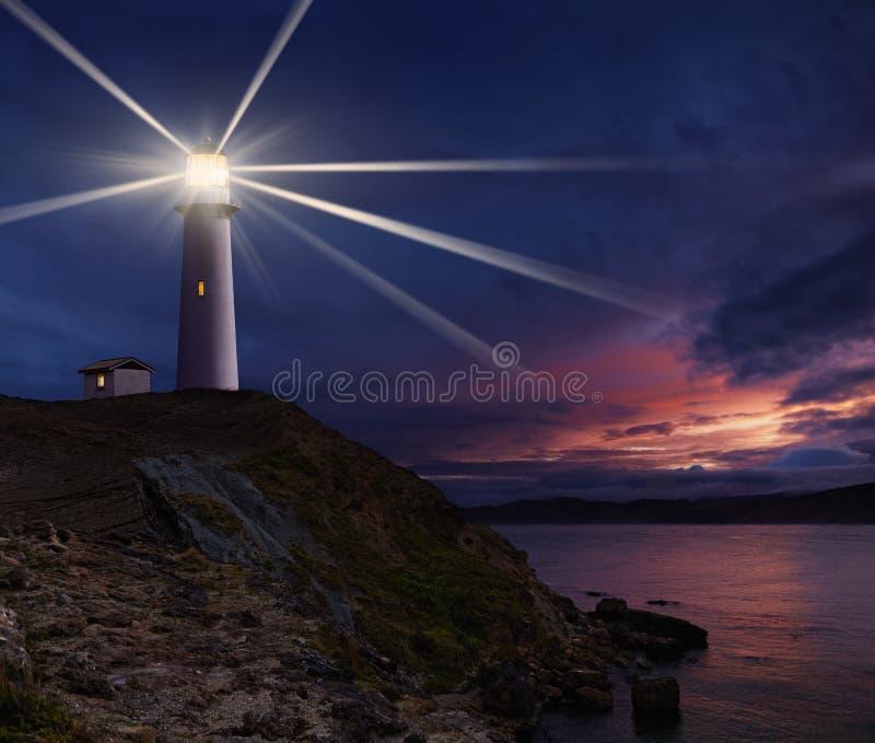 latarni morskiej blasku księżyca noc scena obrazy royalty free