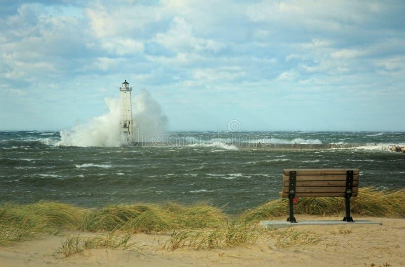 latarni morskiej burza fotografia royalty free