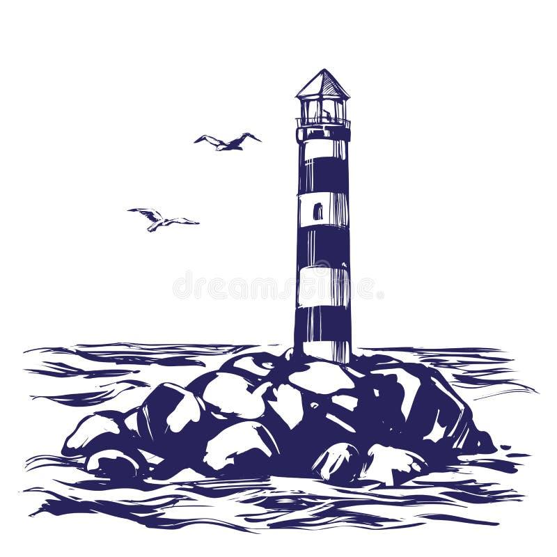 Latarni morskiej i morze krajobrazu ręka rysujący wektorowy ilustracyjny nakreślenie royalty ilustracja