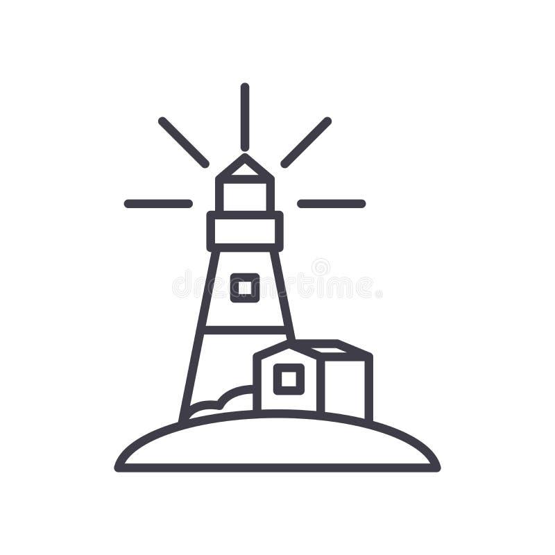 Latarni morskiej ikony czarny pojęcie Latarnia morska płaski wektorowy symbol, znak, ilustracja ilustracji