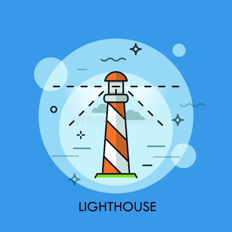Latarni morskiej ikony loga linii płaski projekt również zwrócić corel ilustracji wektora ilustracji