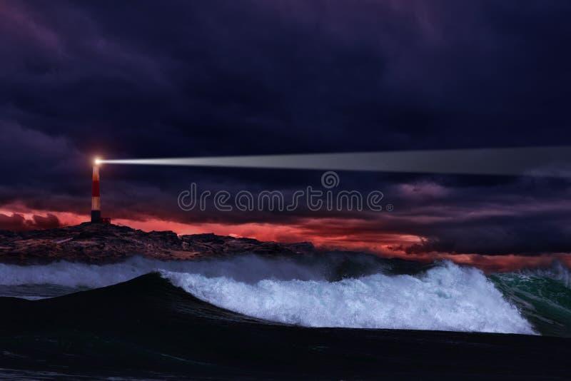 latarni morskiej noc fotografia royalty free