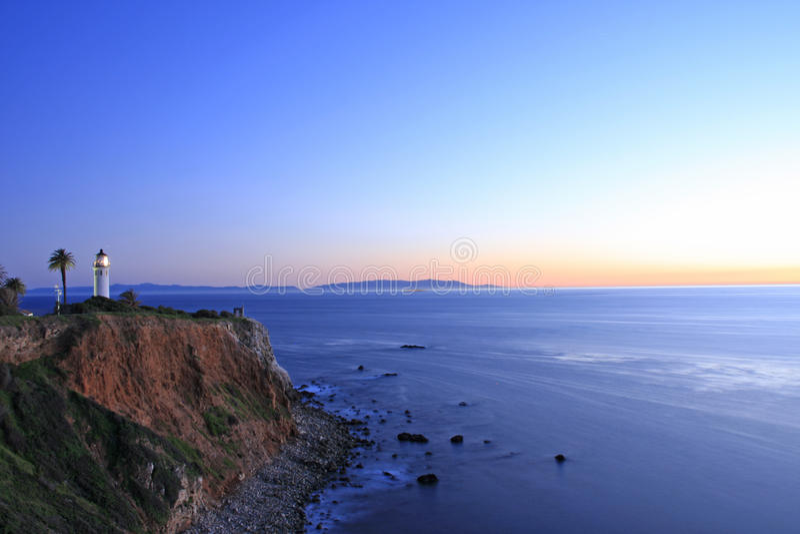 latarni morskiej noc punktu zmierzch Vicente obrazy stock