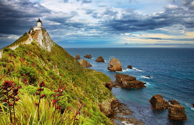 latarni morskiej nowy bryłki punkt Zealand obraz royalty free