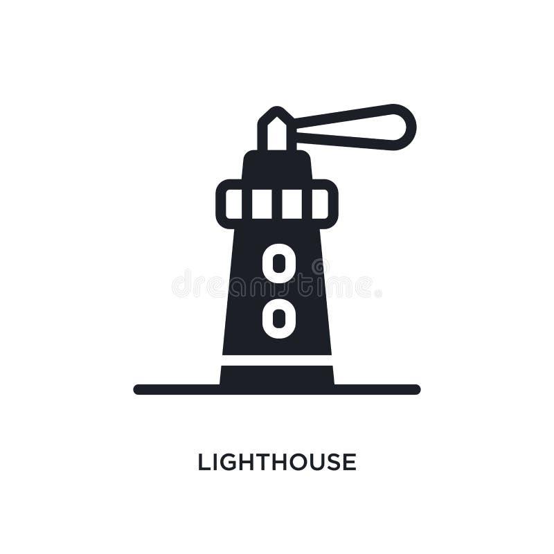Latarni morskiej odosobniona ikona prosta element ilustracja od nautycznych pojęcie ikon latarnia morska logo znaka symbolu edita royalty ilustracja