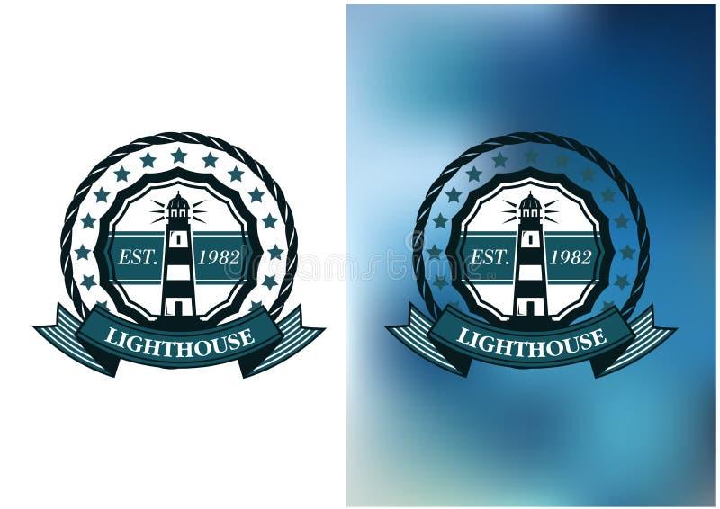 Latarni morskiej odznaka lub ilustracja wektor