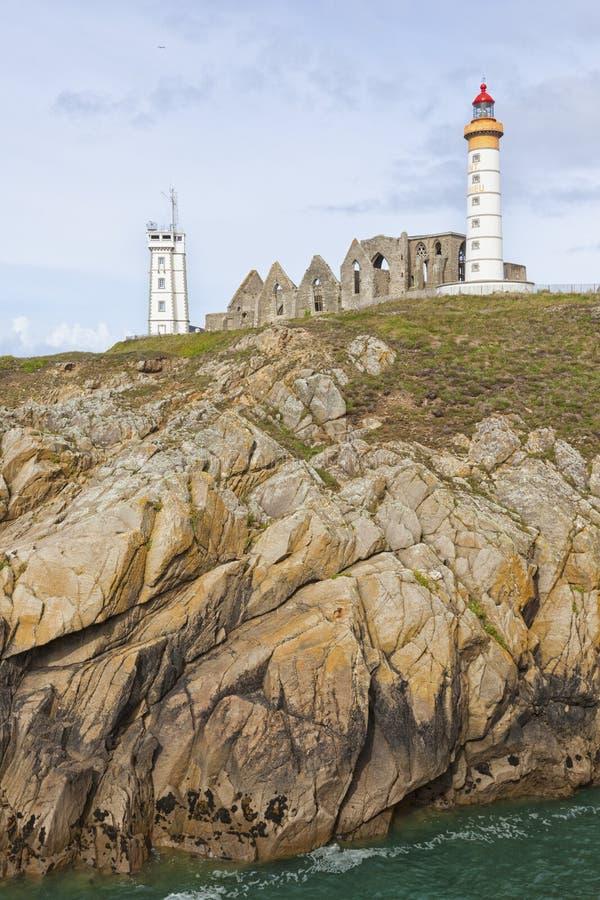 Latarni morskiej, opactwa i semaforu wierza Mathieu, Brittany fotografia stock