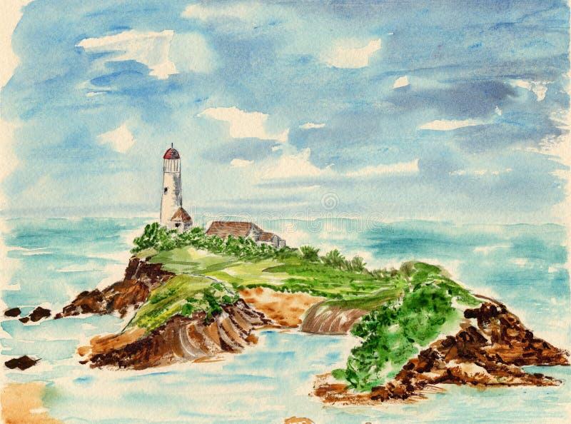 Latarni morskiej scena ilustracja wektor