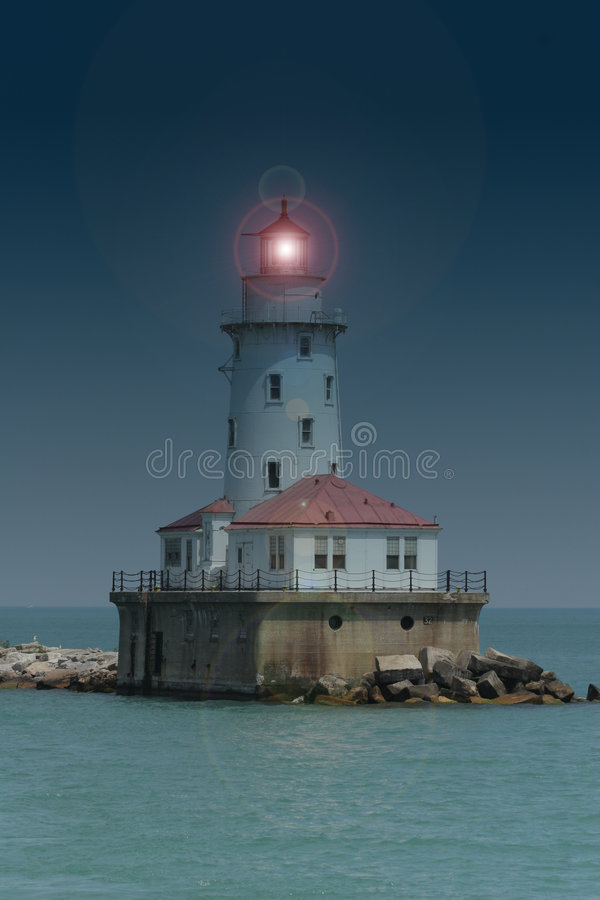 Latarnia Morska & Bezpiecznej Przystani & Chicago Obraz Stock