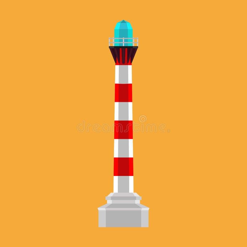 Latarnia morska bakanu wektoru denna ilustracyjna ikona Budujący lekkiej czerwieni wierza nautycznej architektury morską nawigacj ilustracji
