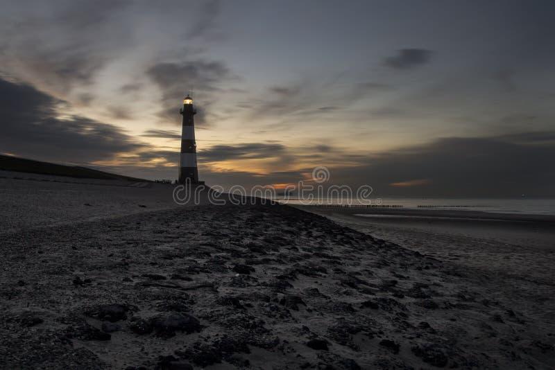 Latarnia morska Breskens na Północnym morzu Zeeuws-Vlaanderen, Zeeland holandie, Europa obrazy royalty free