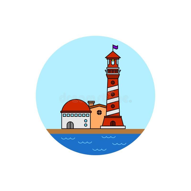 Latarnia morska budynku pejzażu miejskiego ikona royalty ilustracja