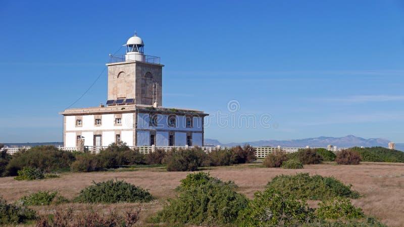Latarnia morska Faro na wyspie Nova Tabarca koło Alicante Hiszpania fotografia stock