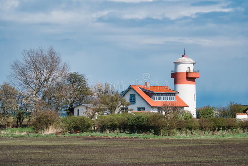 Latarnia morska Hou Fyr na Langeland fotografia royalty free
