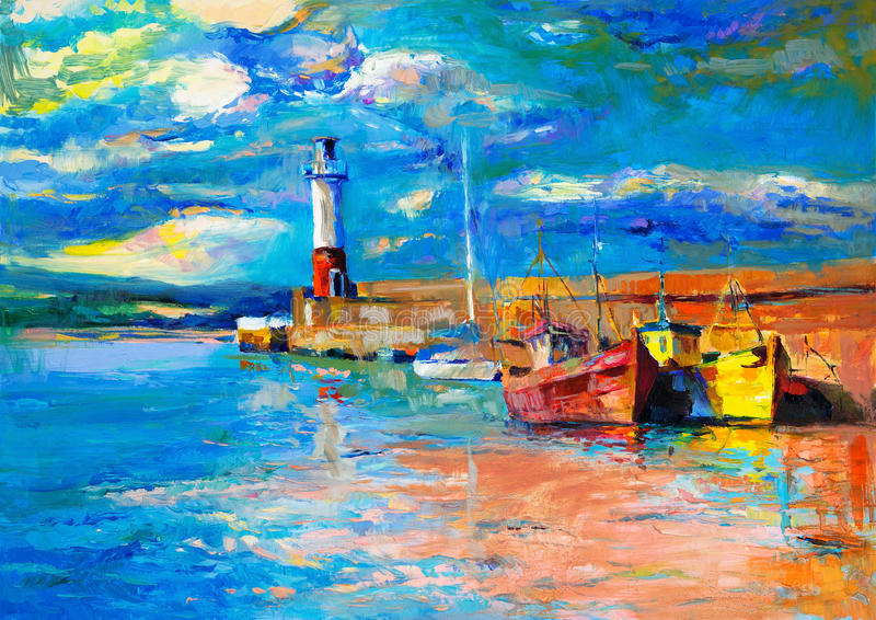 Latarnia morska i łodzie ilustracji