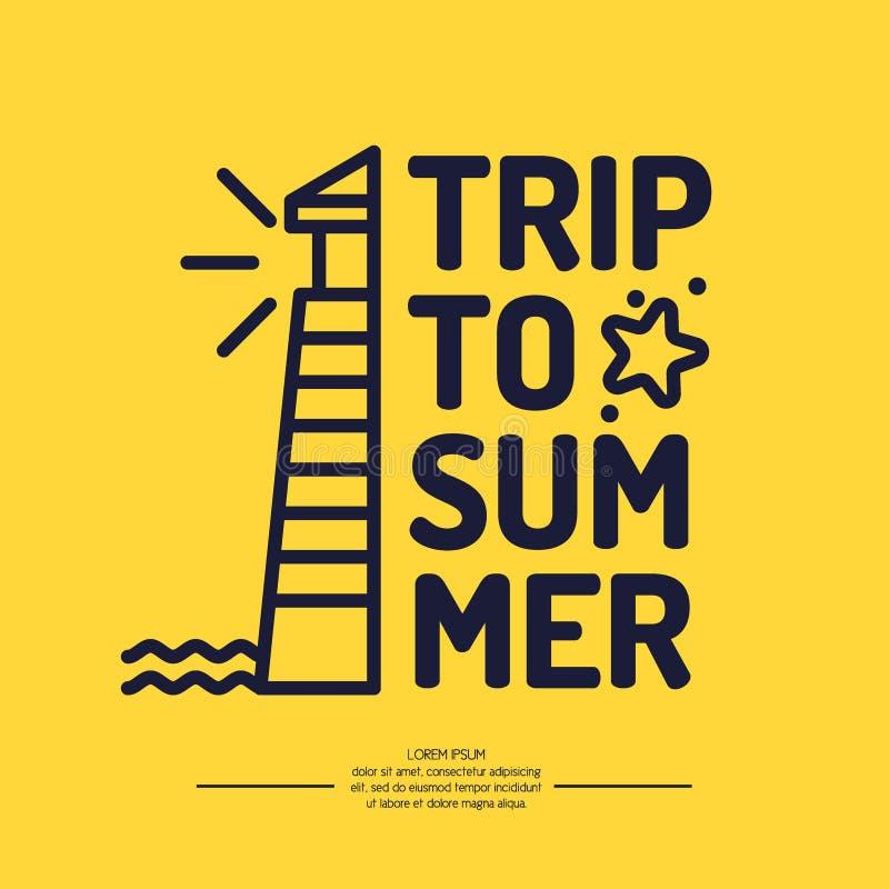 Latarnia morska i lato podróż w liniowym stylu ilustracja wektor