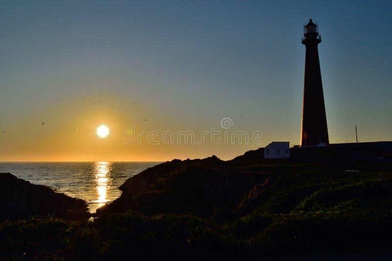Latarnia morska i midnight słońce w Andenes, Norwegia obraz stock