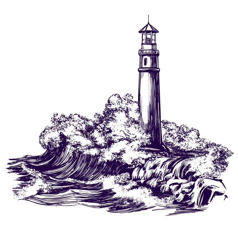 Latarnia morska i morze kształtujemy teren, szalejemy, ręka rysującego wektorowego ilustracyjnego realistycznego nakreślenie ilustracja wektor