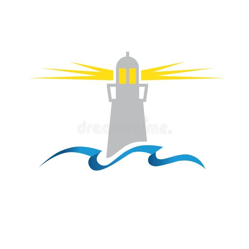 Latarnia morska i ocean ilustracja wektor