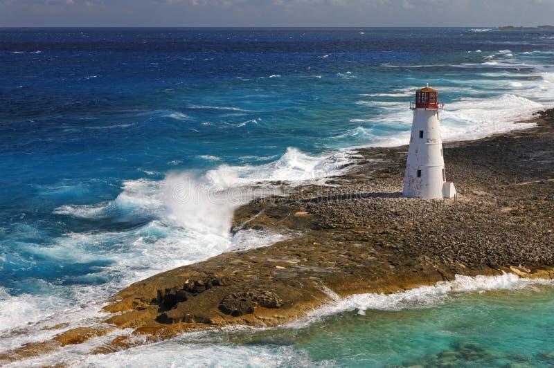 Latarnia morska i vawes obraz stock