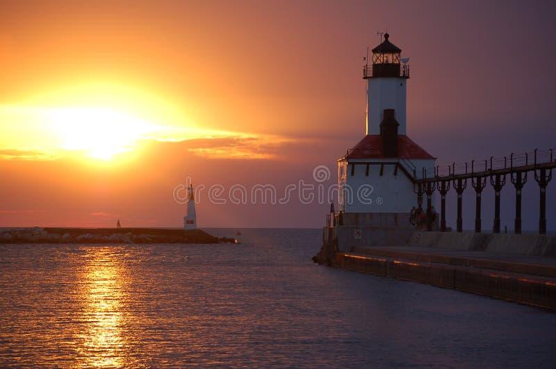latarnia morska Michigan city zdjęcia stock