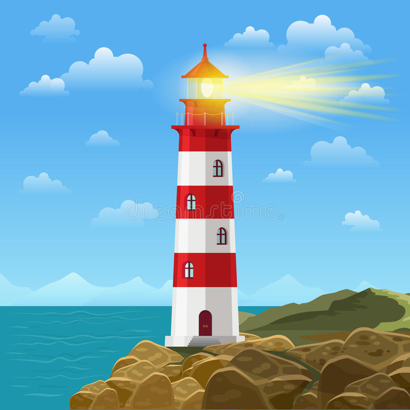 Latarnia morska na oceanu lub morza kreskówki tła wektoru plażowej ilustraci royalty ilustracja
