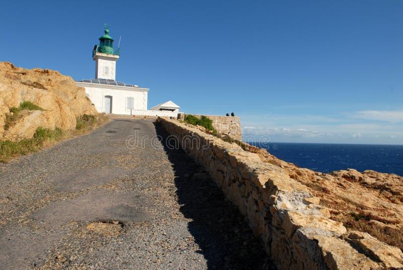 Latarnia morska Pietra przy Ile Rousse w Corsica, Francja obraz royalty free