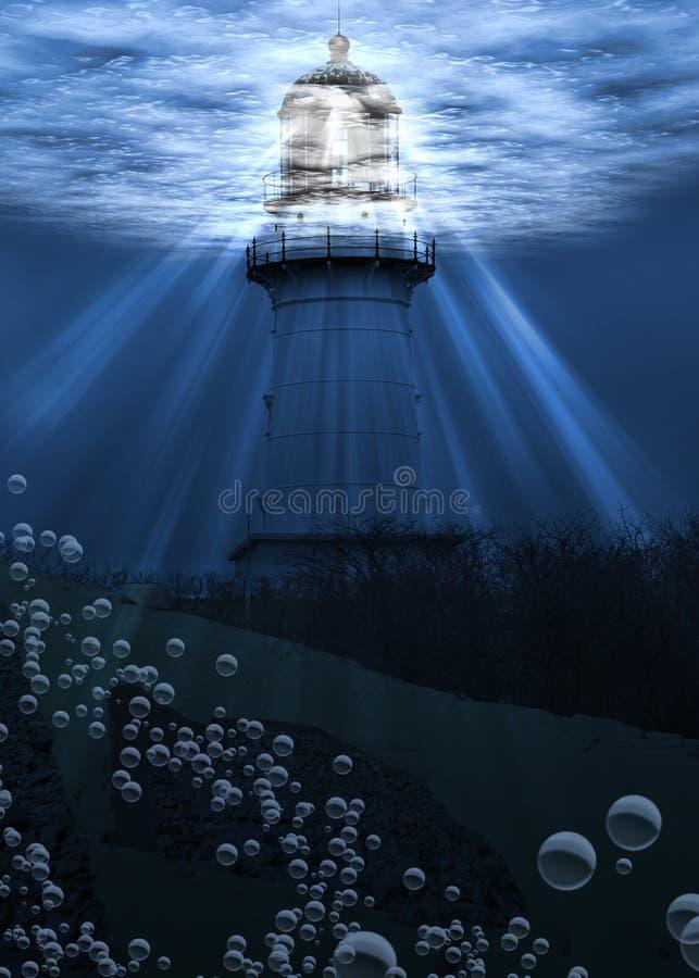 latarnia morska pod wodą obrazy royalty free