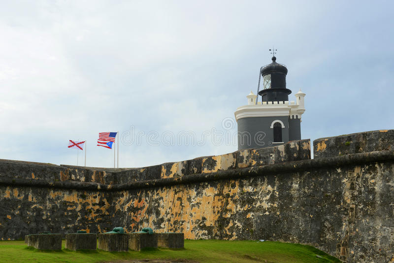 Latarnia morska przy Castillo San Felipe Del Morro, San Juan obraz royalty free
