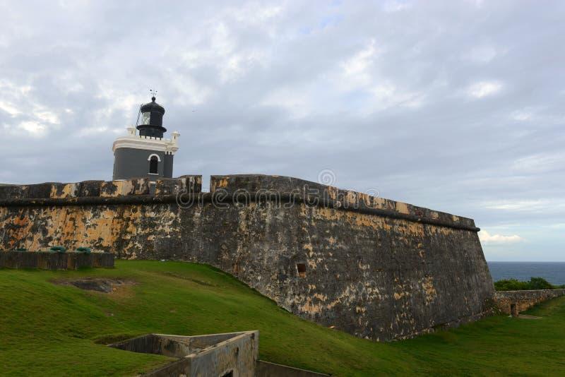 Latarnia morska przy Castillo San Felipe Del Morro, San Juan zdjęcia stock