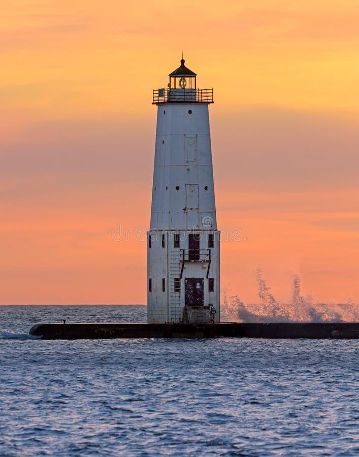 Latarnia morska przy Frankfort, Michigan zdjęcia stock
