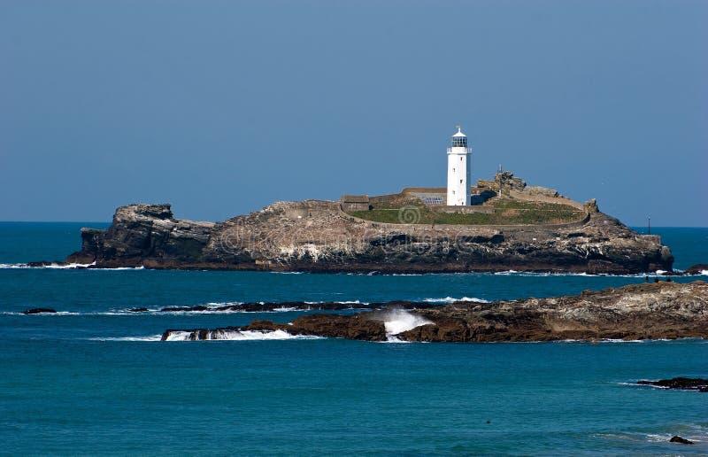 Godrevy latarni morskiej północ Cornwall obrazy royalty free