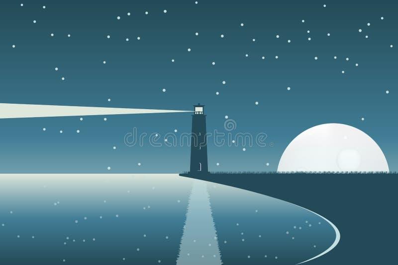 Latarnia morska przy księżyc w pełni nocą Brzegowy krajobraz ilustracja wektor