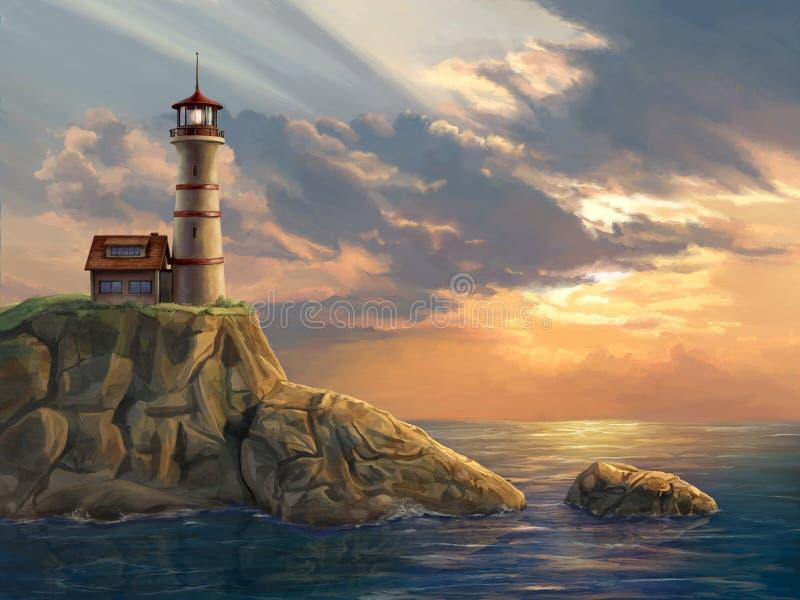 Latarnia morska przy zmierzchem zdjęcie stock